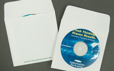 "CD/DVD Envelope - Plain White with Window and 1 1/2"" Flap - ""Green"" Recycled Paper"
