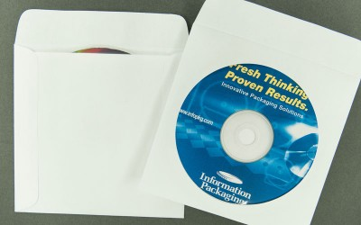 """CD/DVD Envelope - Plain White with Window and 1"""" Flap - Paper"""