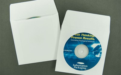 "CD/DVD Envelope - Plain White with Window and 1 1/2"" Flap - Paper"