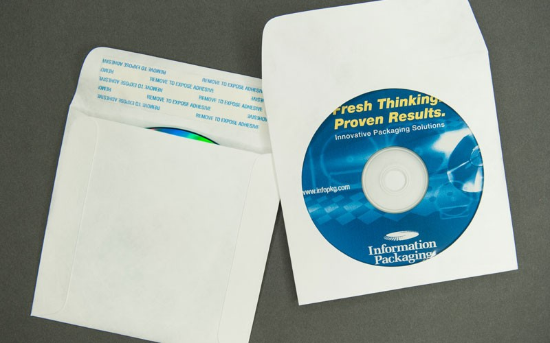 CD/DVD Envelope - Plain White with Window and Strip and Seal
