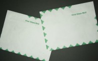 "Large Tyvek® Mailing Envelope - First Class Green Diamond Border - Open Side - 9"" x 12"""