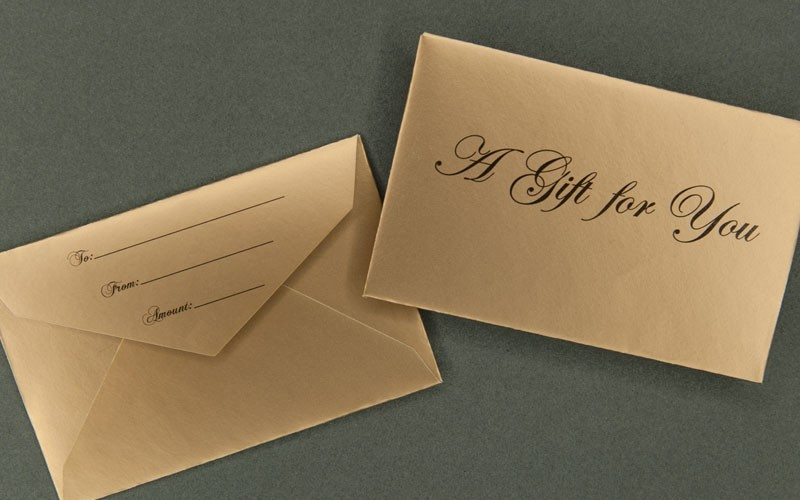 information packaging - gold mini gift card envelope