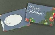 Gift Card Sleeve - Happy Holidays Blue with Tree