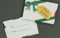 Gift Card Sleeve - Happy Holidays - Green & Gold