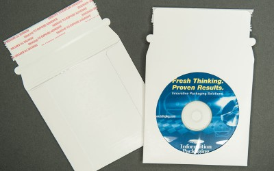 """CD/DVD Mailer - Paperboard - White with Window - 5 1/4"""" x 5 1/4"""""""