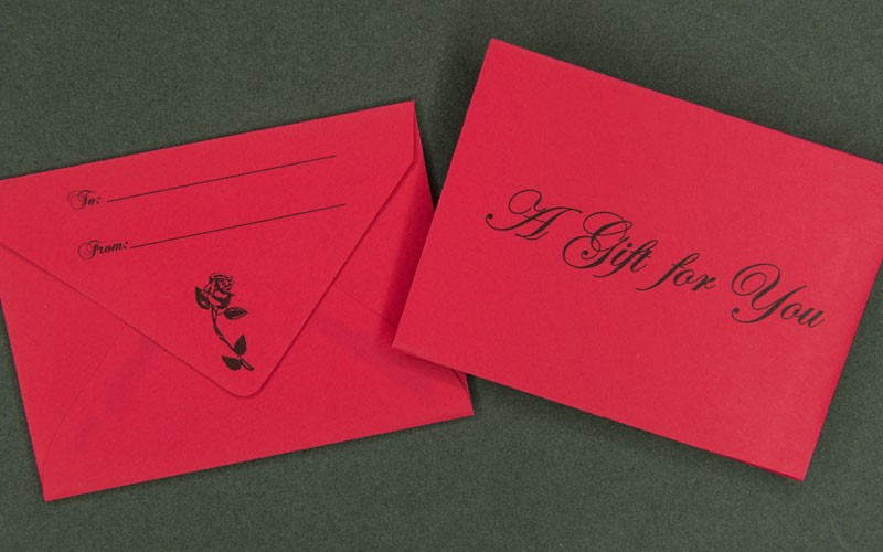 information packaging - red gift card envelope