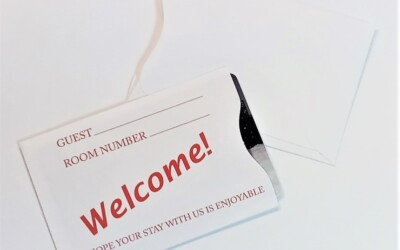 Welcome Guest Red Key Card Sleeve